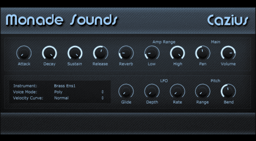 Monade Sounds Cazius Casio CZ-5000 Synthesizer Plug-in Instrument GUI Oberfläche