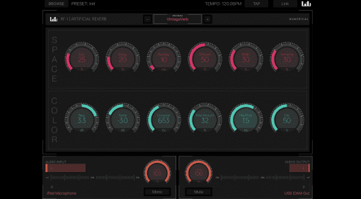 Numerical Audio RF1 iPad iOS app Reverb Plug-in GUI