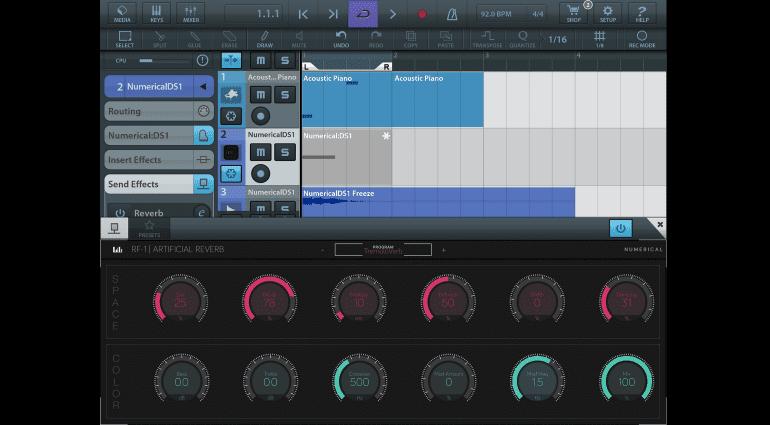 Numerical Audio RF1 iPad iOS app Reverb Plug-in GUI Cubasis