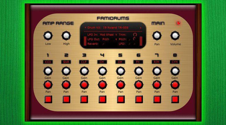 Samplescience Famidrum Drum Machine NES 8 Bit Plug-in VST GUI Oberflaeche