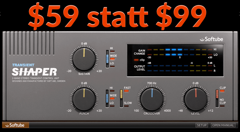 Softube Transient Shaper Plug-in Effekt GUI Deal SAle