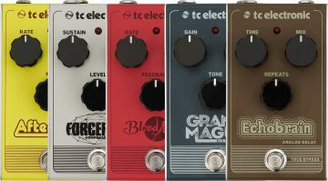 TC Electronic Vintage Series analog pedals Afterglow Blood Moon Echobraiun Forcefield Grand Magnus