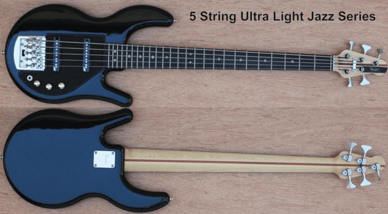 Tensor Ultralight Jazz Bass Black schwarz 5-Saiter Front Back