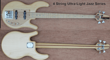 Tensor Ultralight Jazz Bass Natural 4-Saiter Front BAck