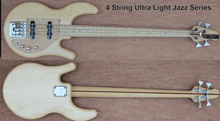 Tensor Ultralight Jazz Bass Natural 4-Saiter Front BAck