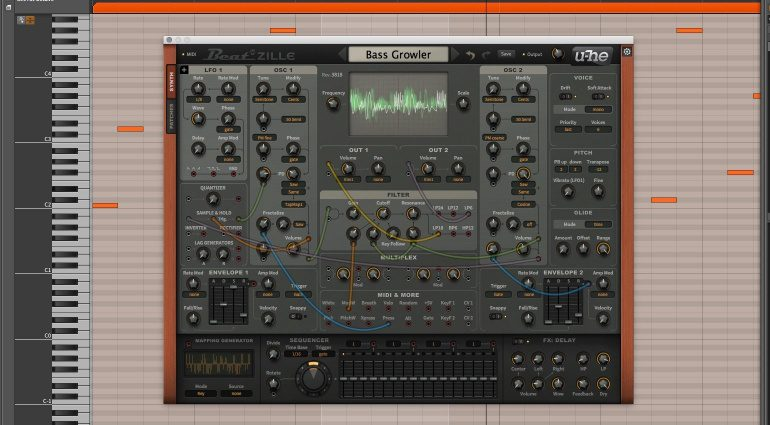 U-HE Beatzille Software Modular Synthesizer Bitwig DAW GUI Front
