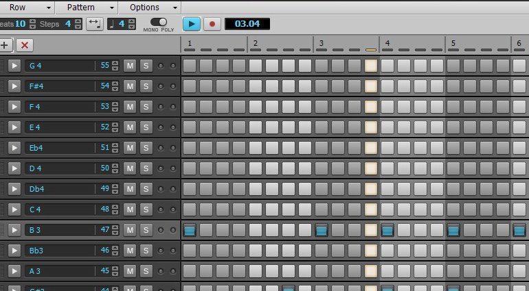 Cakewalk Sonar Home Studio Step Sequencer View