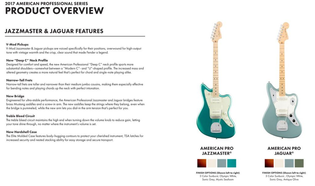 Fender American Professional Pro Series Jaguar Jazzmaster Specs