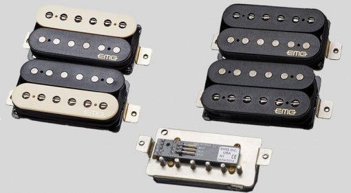 EMG Retro Active Pickups Humbucker Fat 55 Super 77 Zebra Black Preamp Front