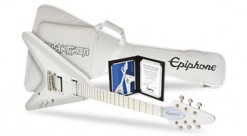 Epiphone Brendon Small Snow Falcon Flying V Signature Front Gigbag White