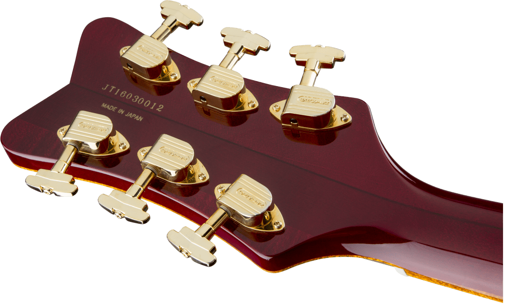 Gretsch Falcon Dark Cherry Stain Headstock Back Close