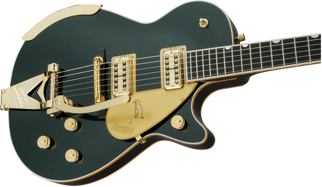 Gretsch Penguin Cadillac Green Metallic Front Body Close
