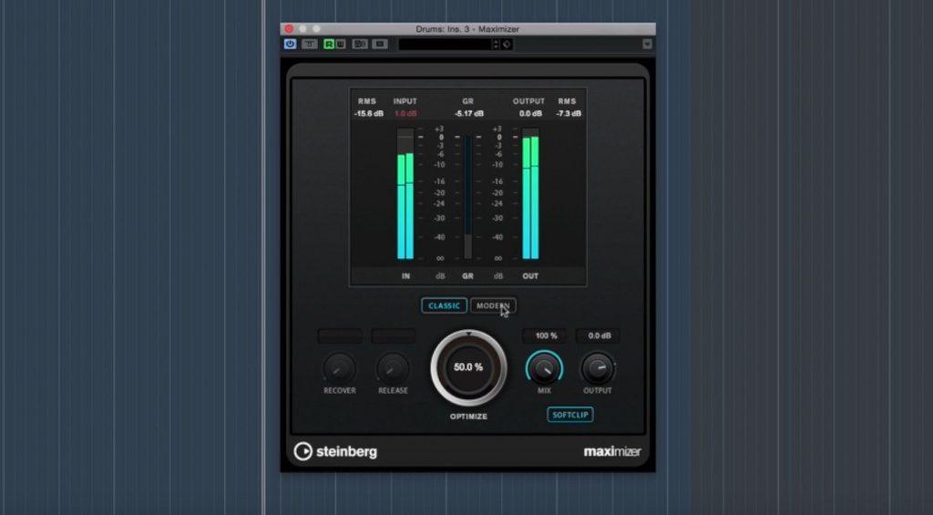 Steinberg Cubase Pro 9 Maximizer Plug-in EQ GUI