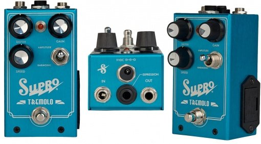 Supro Harmonic Tremolo Pedal Front Side Back Inputs
