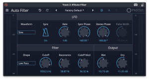 Tracktion Plug-in Effekt Auto Filter GUI