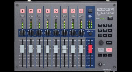 Zoom F-Control Remote Controller Mixer Field Recorder Front Top View Black