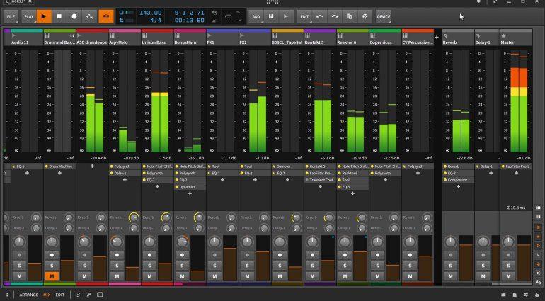 Bitwig Studio 2 Mixer GUI