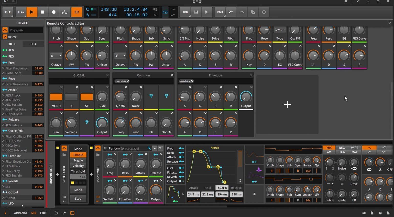 Bitwig Studio 2 Remote Editor GUI