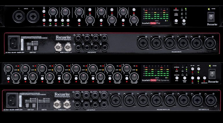 Focusrite Scarlett OctoPre Dynamic Front Back Totale