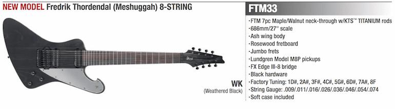 Ibanez FTM33 Meshuggah Signtaure 8-Saiter E-Gitarre Leak Front Screenshot Katalog