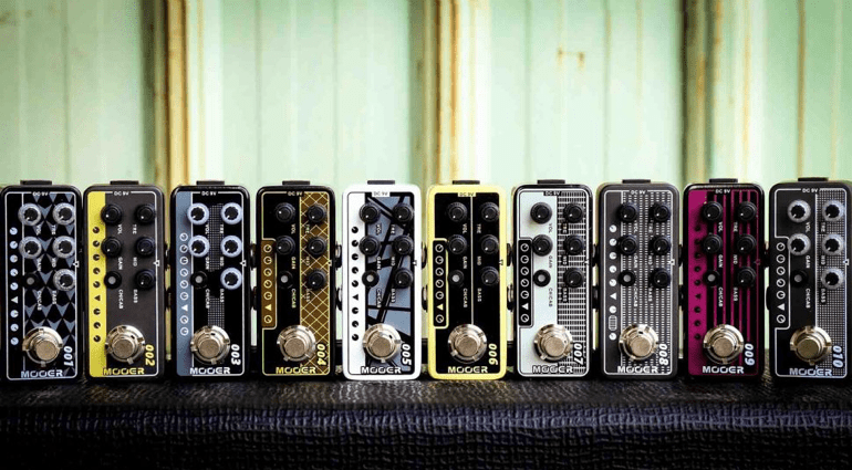 Mooer Preamp Pedals Family Photo Font NAMM 2017