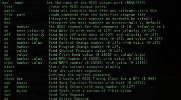 SendMIDI Terminal macOS Output Befehlsliste