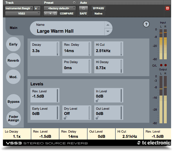 TC Electronic VSS3 Native VST Plug-in Main GUI