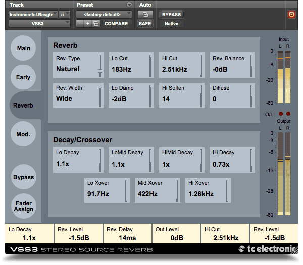TC Electronic VSS3 Native VST Plug-in Reverb GUI