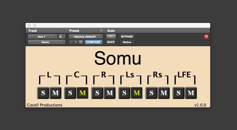 Cocell Productions Somu Solo Mute Surround 5.1 Plug-in GUI AAX