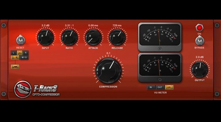 IK Multimedia T-RackS Custom Shop Opto Compressor PLug-in GUI Front