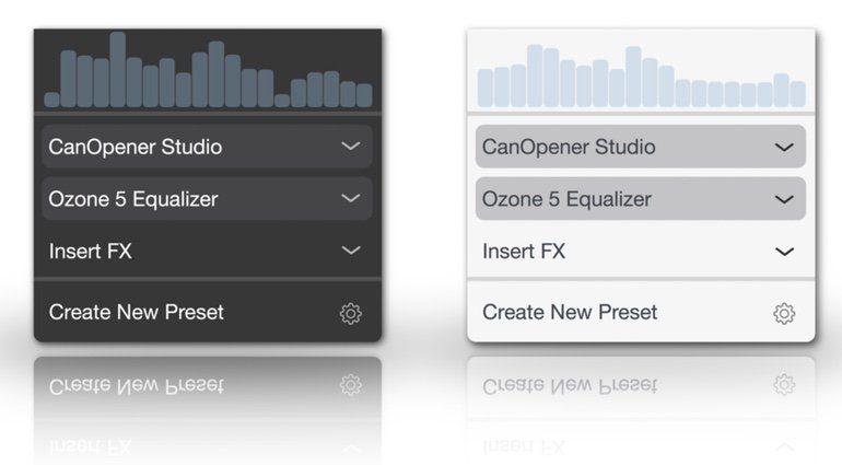 menuBus Mac App Panel Effekt Insert GUI