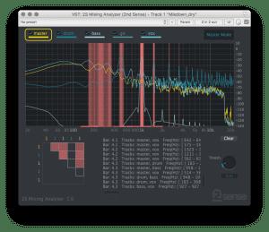 2nd Sense Audio Mixing Analyzer Plug-in GUI