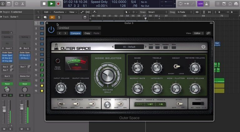 Audio Thing Outer Space RE-201 Space Echo Plug-in GUI Logic-X