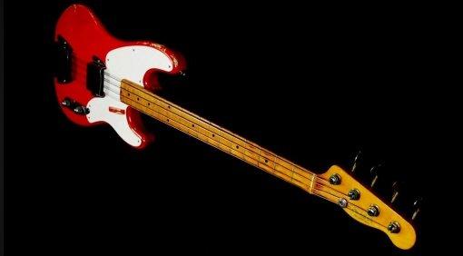 Fender 1955 Precision Bass Fullerton Red Front Slant andersrum