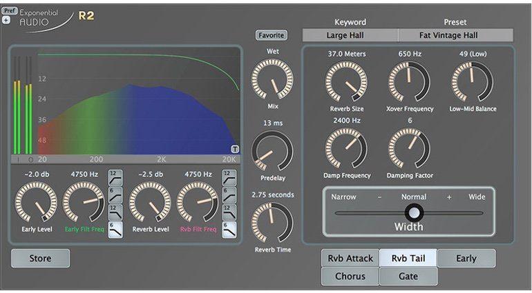 Exponential Audio R2 Reverb Plug-in GUI