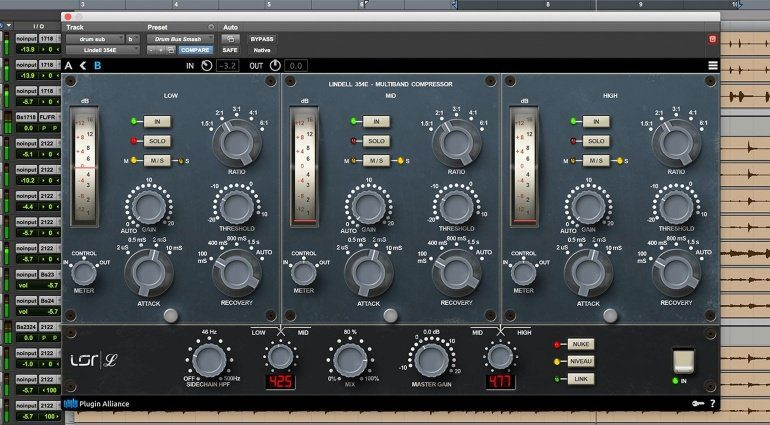 Lindell Audio 354E Kompressor Limiter Plug-in GUI Pro Tools