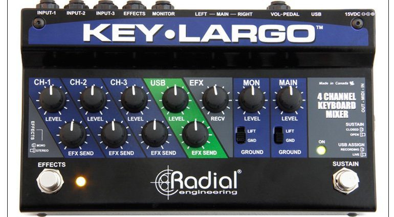 Radial Engineering Key-Largo Mixer USB Interface Pedal Front