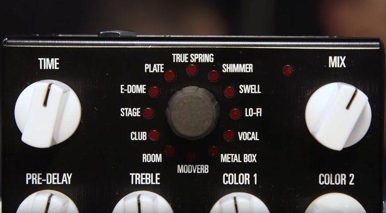 Source Audio Ventris Reverb Effekt Pedal Front Presets Knobs Close Up