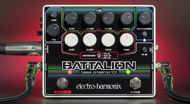 Electro Harmonix EHX Battalion E-Bass Pedal Preamp DI Distortion Front