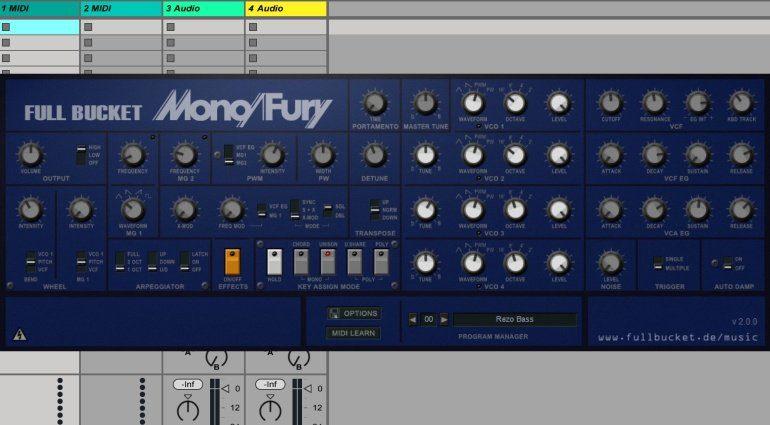 Full Bucket Music Mono/Fury v.2.0.0 - kostenlose Korg Mono/Poly Emulation