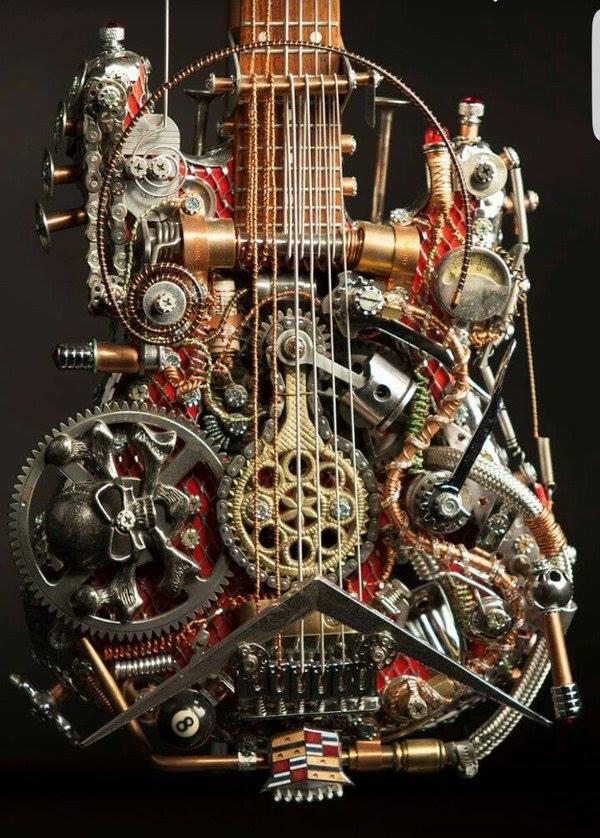 steampunk gitarren wer w rde sich trauen so was zu. Black Bedroom Furniture Sets. Home Design Ideas