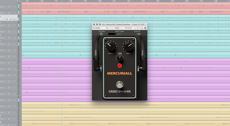 Mercuriall Audio Greed Smasher Freeware Pedal Plug-in GUI