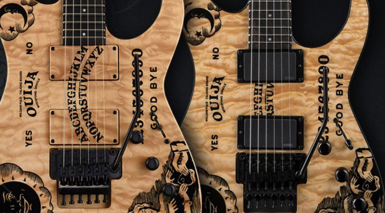ESP-and-LTD-Kirk-Hammett-limited-edition-quilted-maple-Ouija-Board-