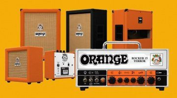 Orange-NAMM-2018-Rocker-15-Terror-amp-head-Orange-Crush-and-PPC212-slant-cab