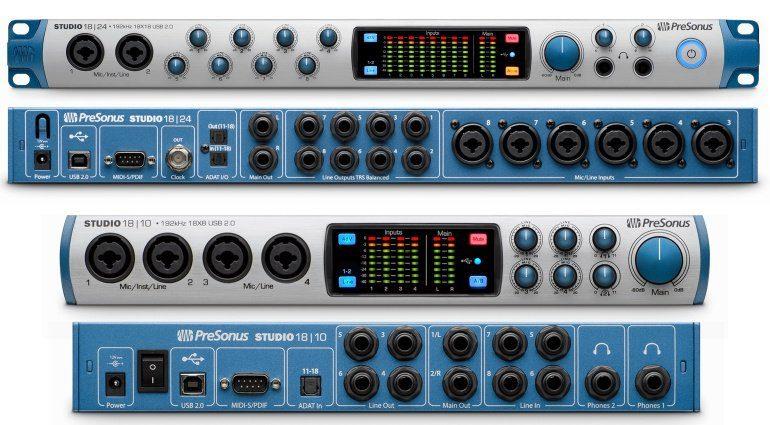 Presonus Studio 1810 Studio 1824 USB Audio Interfaces Front Back
