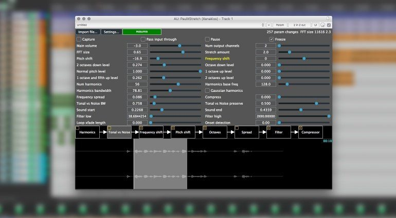 PaulXStretch PLug-in VST GUI