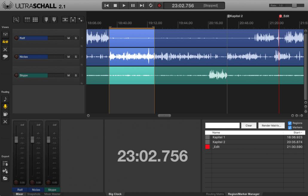 Ultraschall 2.1 REaper Podcast Toolbox GUI