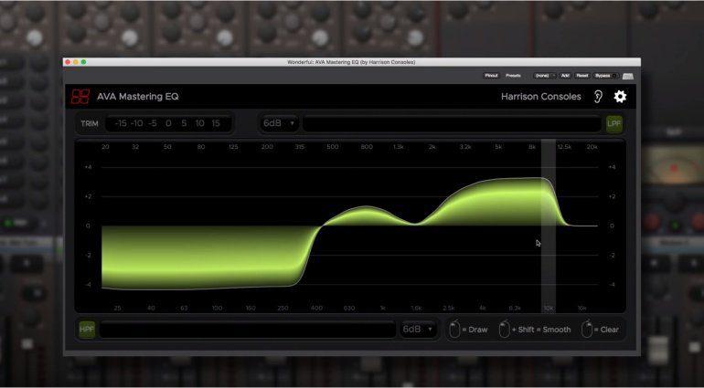 Harrison MIxbus AVA Mastering EQ Plug-in GUI