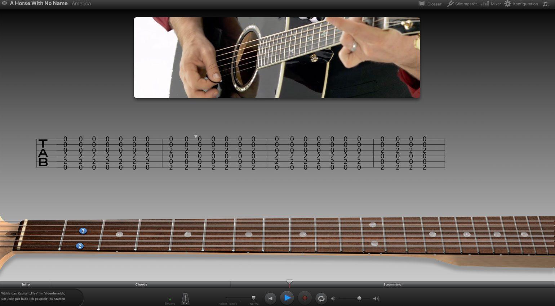 Apple GarageBand Artist Lesson: oben das Video, in der Mitte die Tabs, unten der Gitarrenhals