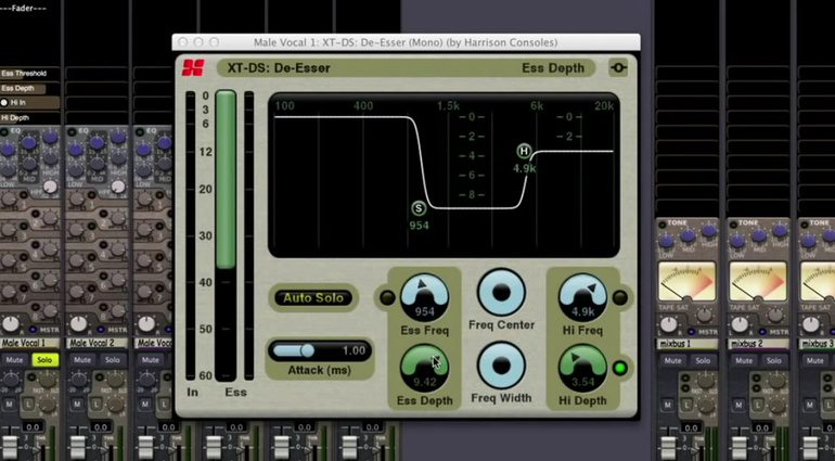 Harrison XT-DS De-Esser Plug-in GUI